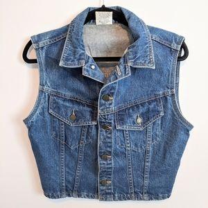 Vintage denim cropped vest